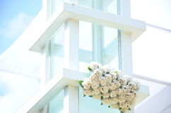 Background -Design - chupa for a wedding ceremony on a street in the garden with white roses Stock Photography