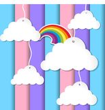 Background design with clouds and rainbow on colorful sky. Illustration Stock Images