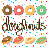 Background design with doughnuts. Illustration Royalty Free Stock Image