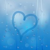 Background for a design with the drops of rain and picture of he. Art, illustration stock illustration