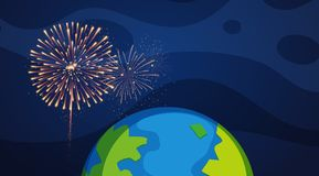 Background design with fireworks over the world. Illustration Royalty Free Stock Photography