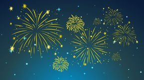 Background design with fireworks in sky. Illustration Stock Photography