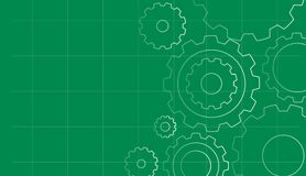 Background design with gears on green Stock Image