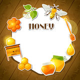 Background design with honey and bee stickers Stock Photo