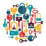 Background design with locks and keys icons Royalty Free Stock Image
