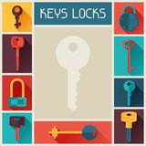 Background design with locks and keys icons Stock Photo