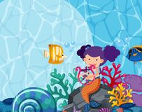 Background design with mermaid and fish under the sea. Illustration Stock Photo