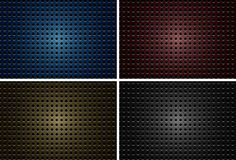 Background design with metalic plates with holes in four colors Royalty Free Stock Photos