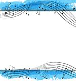 Background design with musical notes on scales Royalty Free Stock Images