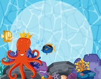 Background design with octopus and fish underwater. Illustration Royalty Free Stock Photos