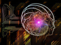 Advance of Consciousness. Background design of outlines of human head, technological and fractal elements on the subject of artificial intelligence, computer Stock Photos