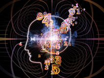 Advance of Consciousness. Background design of outlines of human head, technological and fractal elements on the subject of artificial intelligence, computer Stock Photo