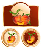Background for design of packing jam jar. Vector. Background for design of packing jam jar with photo-realistic peaches Stock Photo