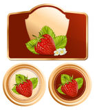 Background for design of packing jam jar with phot. Vector. Background for design of packing jam jar with photo-realistic  red strawberry Stock Images