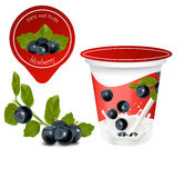 Background for design of packing yoghurt. Vector illustration. Background for design of packing yoghurt. Ripe  blueberry with leaves Stock Photo