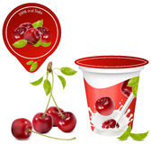 Background for design of packing yogurt. Vector illustration. Background for design of packing yogurt with photo-realistic  of cherry. Red ripe  cherry with Royalty Free Stock Photo