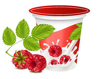 Background for design of packing yogurt. Vector illustration. Background for design of packing yogurt with photo-realistic  of raspberry Stock Photos