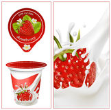 Background for design of packing yogurt. Vector illustration. Background for design of packing yogurt with photo-realistic  of strawberry. Red ripe  strawberry Royalty Free Stock Photography