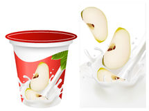 Background for design of packing yogurt with photo. Vector illustration. Background for design of packing yogurt with photo-realistic  of green apple Stock Photography