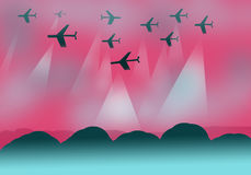 Background design with planes Royalty Free Stock Photography