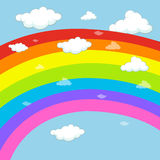 Background design with rainbow in blue sky Stock Image
