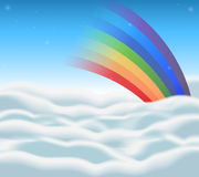 Background design with rainbow in the sky Stock Image