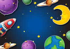 Background design with rocket and planets Stock Images