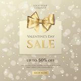 Vector background for design sale posters and flyers for Happy Valentine`s day celebration with paper shopping bag and golden bow. Stock Images
