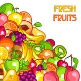 Background design with stylized fresh ripe fruits Royalty Free Stock Photos