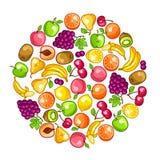 Background design with stylized fresh ripe fruits Royalty Free Stock Image