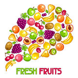 Background design with stylized fresh ripe fruits Royalty Free Stock Images