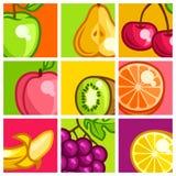 Background design with stylized fresh ripe fruits Stock Images