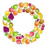 Background design with stylized fresh ripe fruits Stock Photography