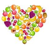 Background design with stylized fresh ripe fruits Royalty Free Stock Photography