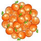 Background design with stylized fresh ripe oranges Royalty Free Stock Photos