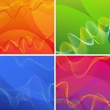 Background designs with wavy lines in four colors Royalty Free Stock Photos