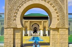 Background detail Moroccan gate entrance. Al-hambra Moroccan palace detail architecture royalty free stock image