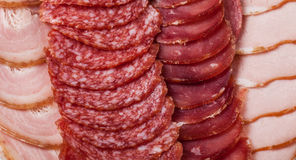 The background - detail of sliced salami Stock Image