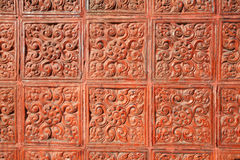 Background: detailed art flora pattern. On temple fence Stock Photos
