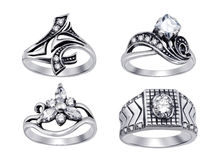 background diamonds isolated rings white Стоковые Изображения RF