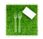 Background about diets and proper nutrition with a fork and spoo Royalty Free Stock Photo