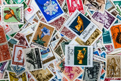 Background of different brands of Bulgarian stamps Stock Photography