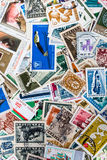 Background of different brands of Bulgarian stamps Royalty Free Stock Photo
