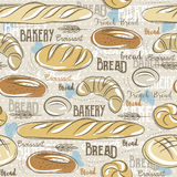 Background with different breads, croissant,  wheat  and text. Royalty Free Stock Photos