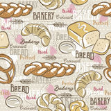 Background with different breads, croissant,  wheat  and text Stock Photography