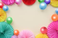 Background with different circle paper and balloons of origami Birthday or party greeting card with copy space. Background with different circle paper and stock image