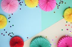 Background with different circle paper of origami and confetti  Birthday or party greeting card with copy space. Background with different circle paper of stock images
