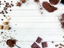 Background with different coffee, coffee bean, earth, and instantly, chocolate, copy space, top view. Background with different coffee, coffee bean, earth, and stock photography