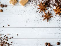 Background with different coffee, coffee bean, earth, and instantly, chocolate, copy space, top view. Background with different coffee, coffee bean, earth, and stock image