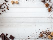 Background with different coffee, coffee bean, earth, and instantly, chocolate, copy space, top view. Background with different coffee, coffee bean, earth, and stock photo